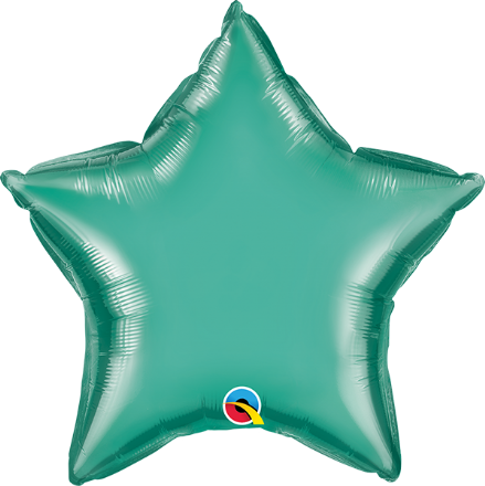 Star Shaped Green Chrome Foil Helium Balloon